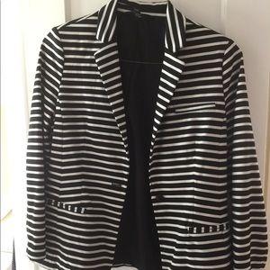 Black and white striped blazer.